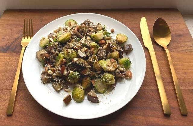 Spruitjes, aubergine en gehakt uit de oven